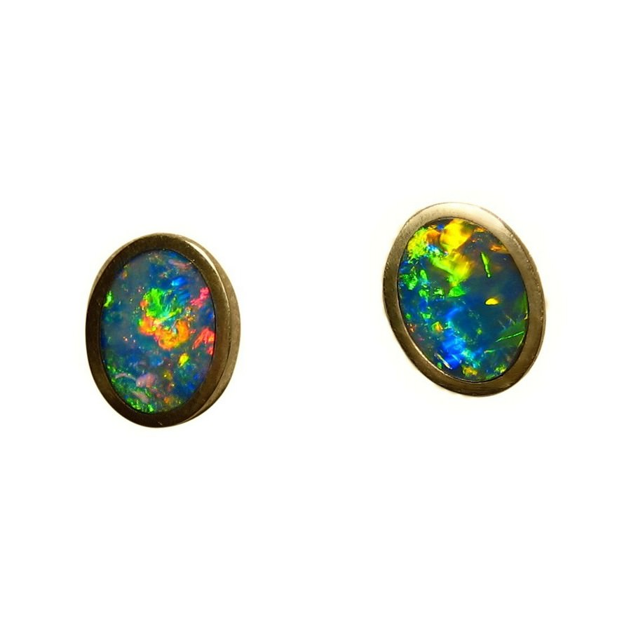 stud itm is earrings opal gold womens rose gemstone image real diamond ops loading for