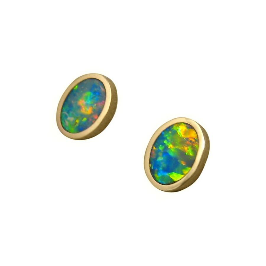 Semi Black Opal Earrings 14k Yellow Gold Oval Studs