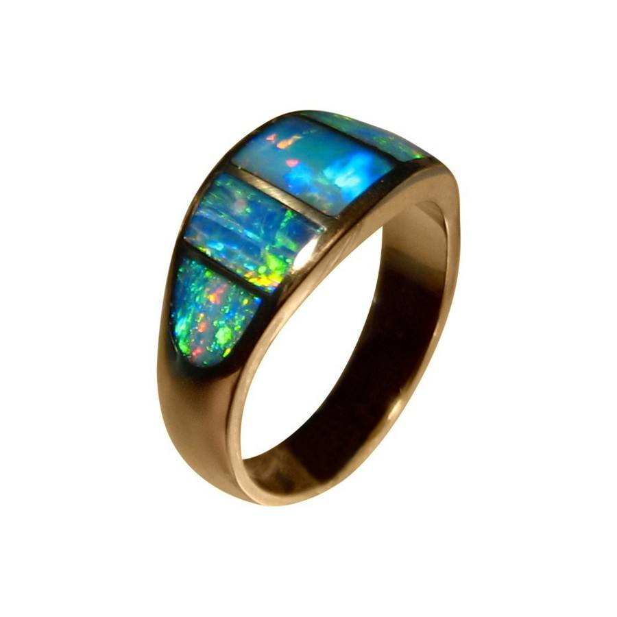 Inlaid Opal Ring 14k Gold Colorful Inlay Opal Rings