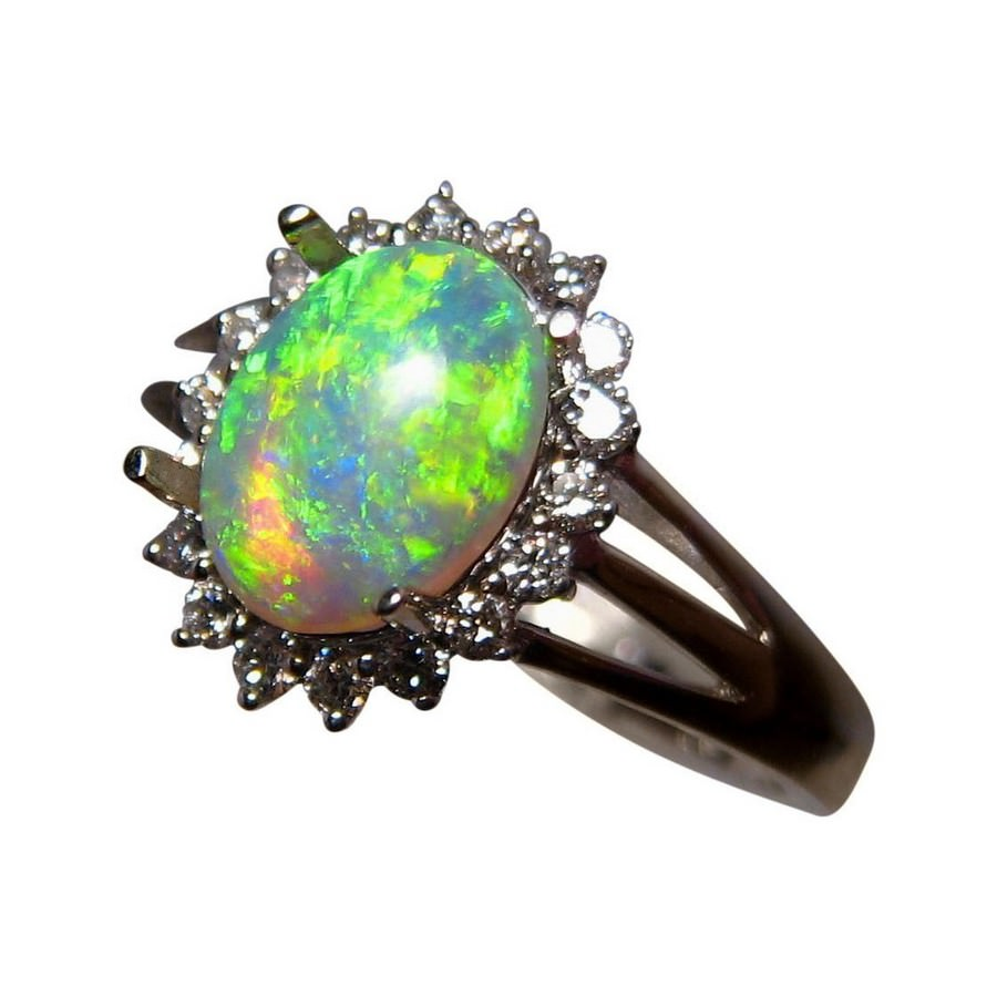 glass luulla glitters original green rings and cabochon on product sparkling ring