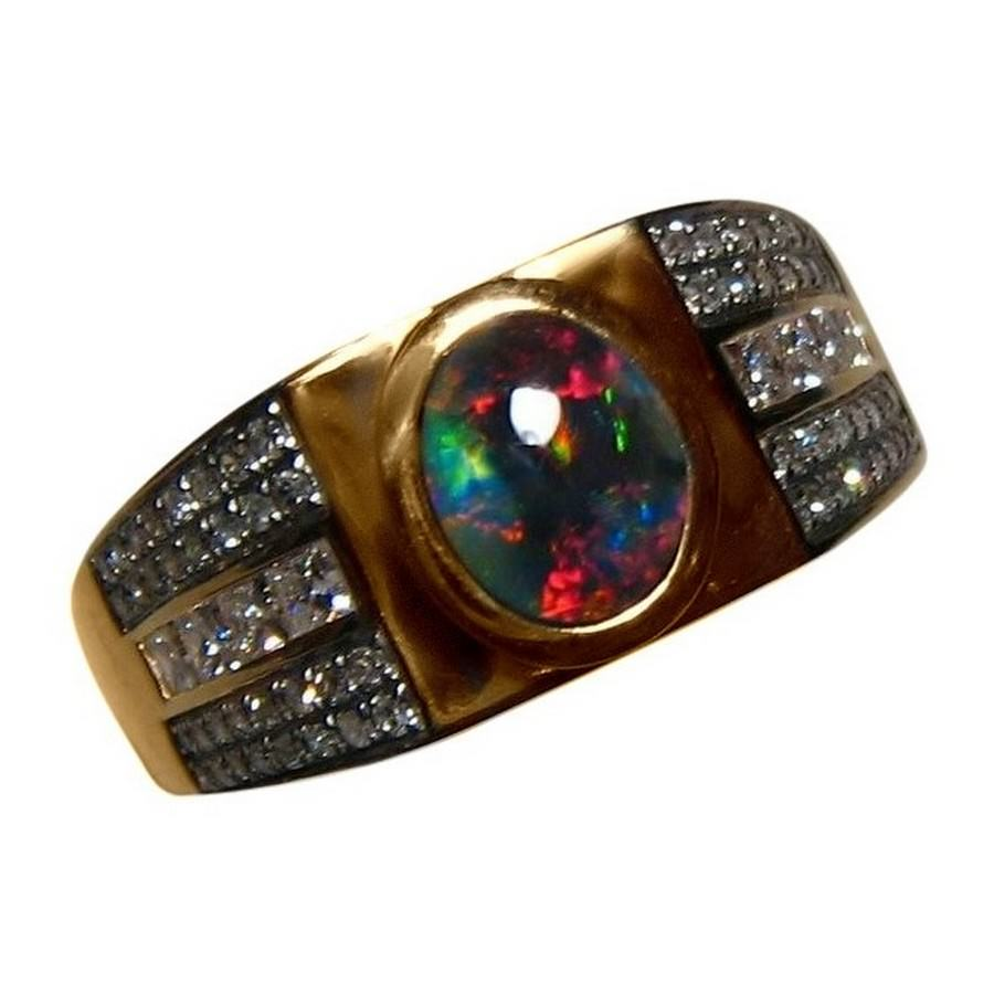 Men S Opal And Diamond Ring In 14k Gold Flashopal
