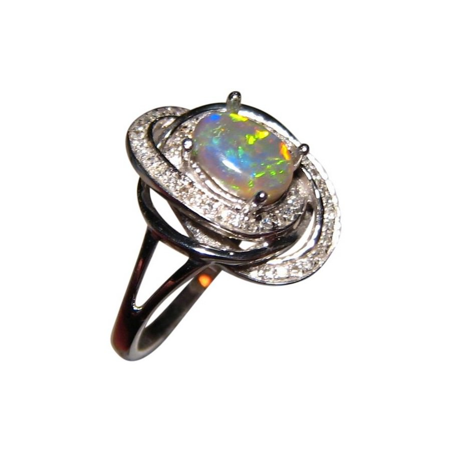 colorful black opal ring with diamonds 14k gold flashopal