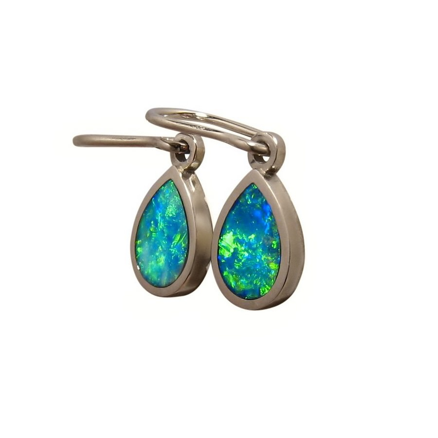 white australia flashopal gold stud oval blue jewelry opal real studs earrings