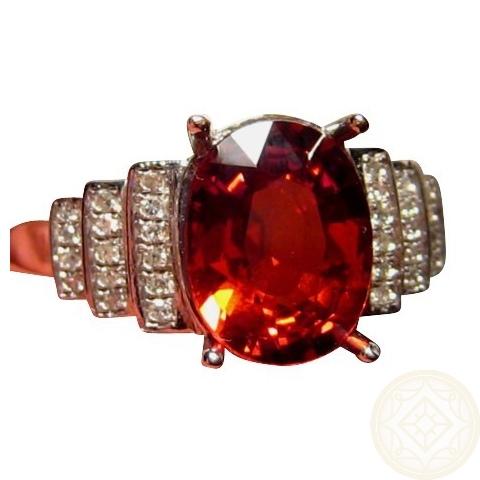 Hessonite Diamond Ring 14k Gold Hessonite Garnet Rings
