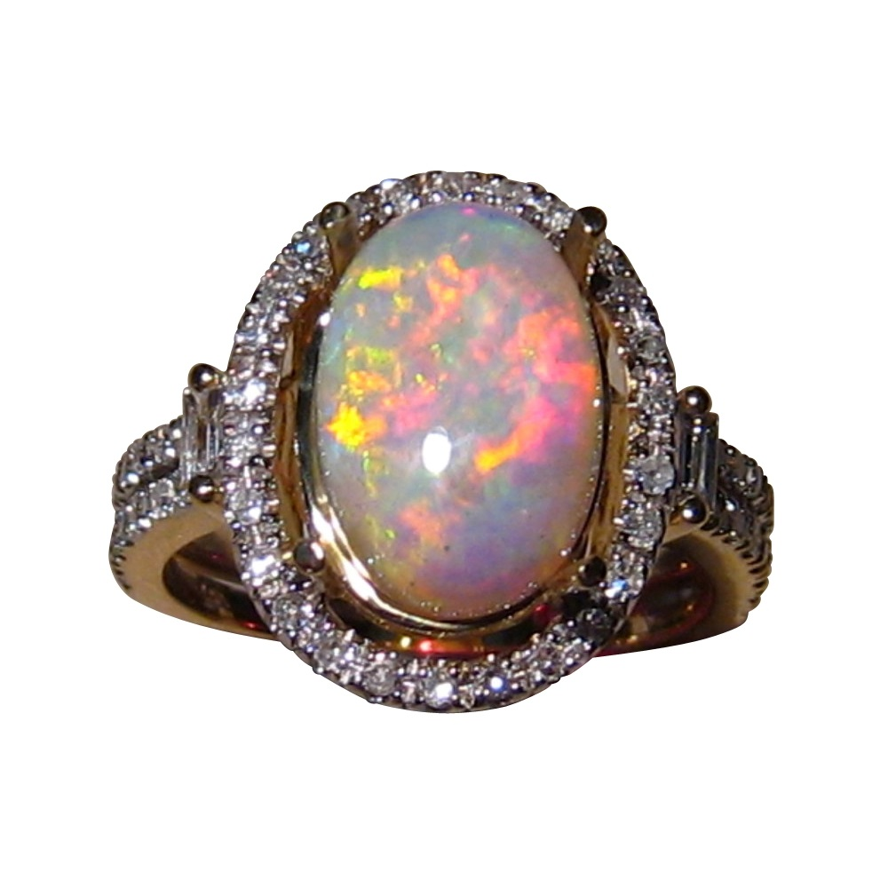 opal and ring in 14k gold flashopal