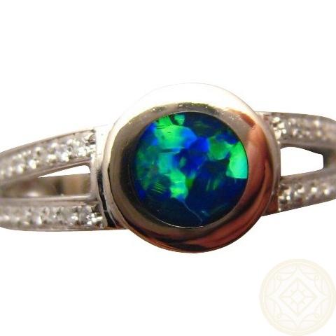 Opal Ring With Diamonds Blue Green Round Gem Flashopal
