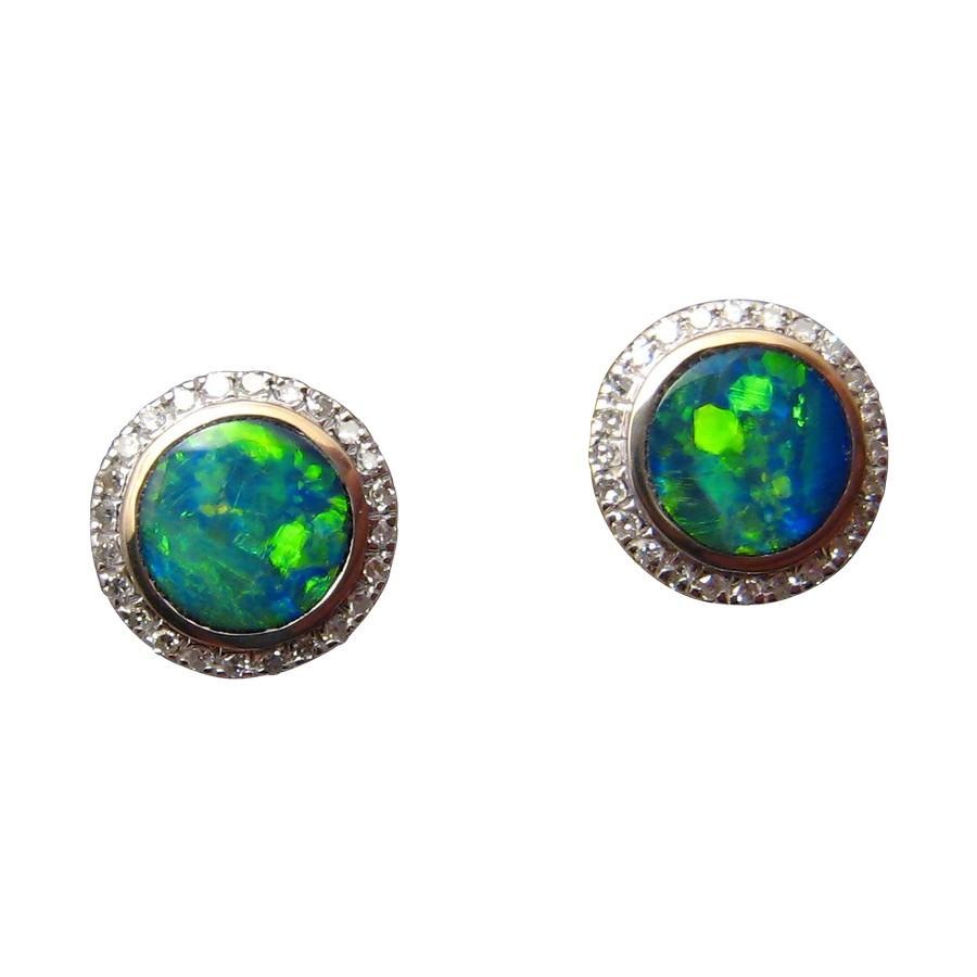 4032f69f9 Green Opal and Diamond Stud Earrings 14k Gold. Round Opal Stud Earrings 14k  White ...
