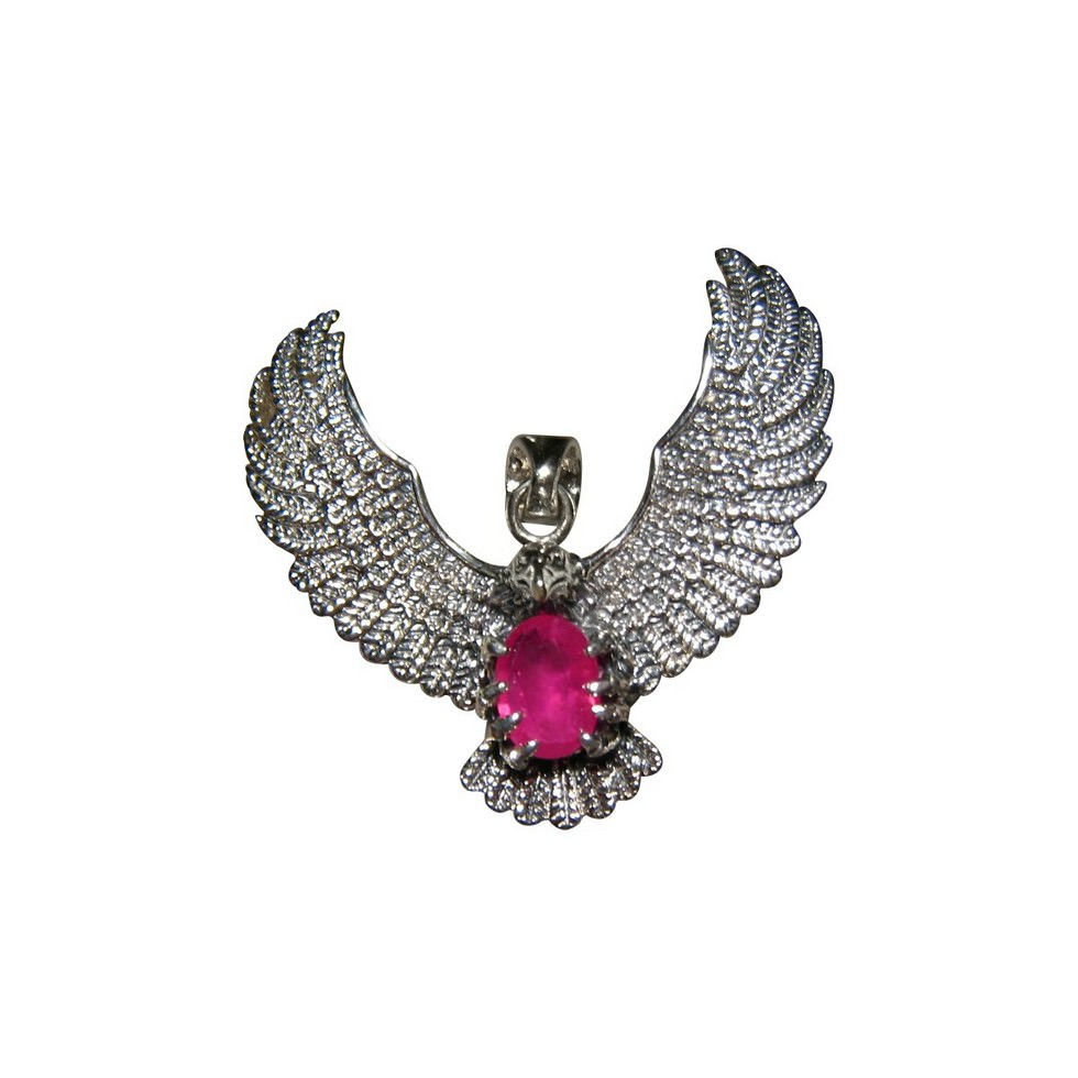 925 silver eagle pendant with ruby flashopal ruby pendant 925 silver eagle mozeypictures Image collections