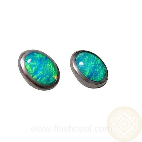Opal Stud Earrings Oval Natural Stones