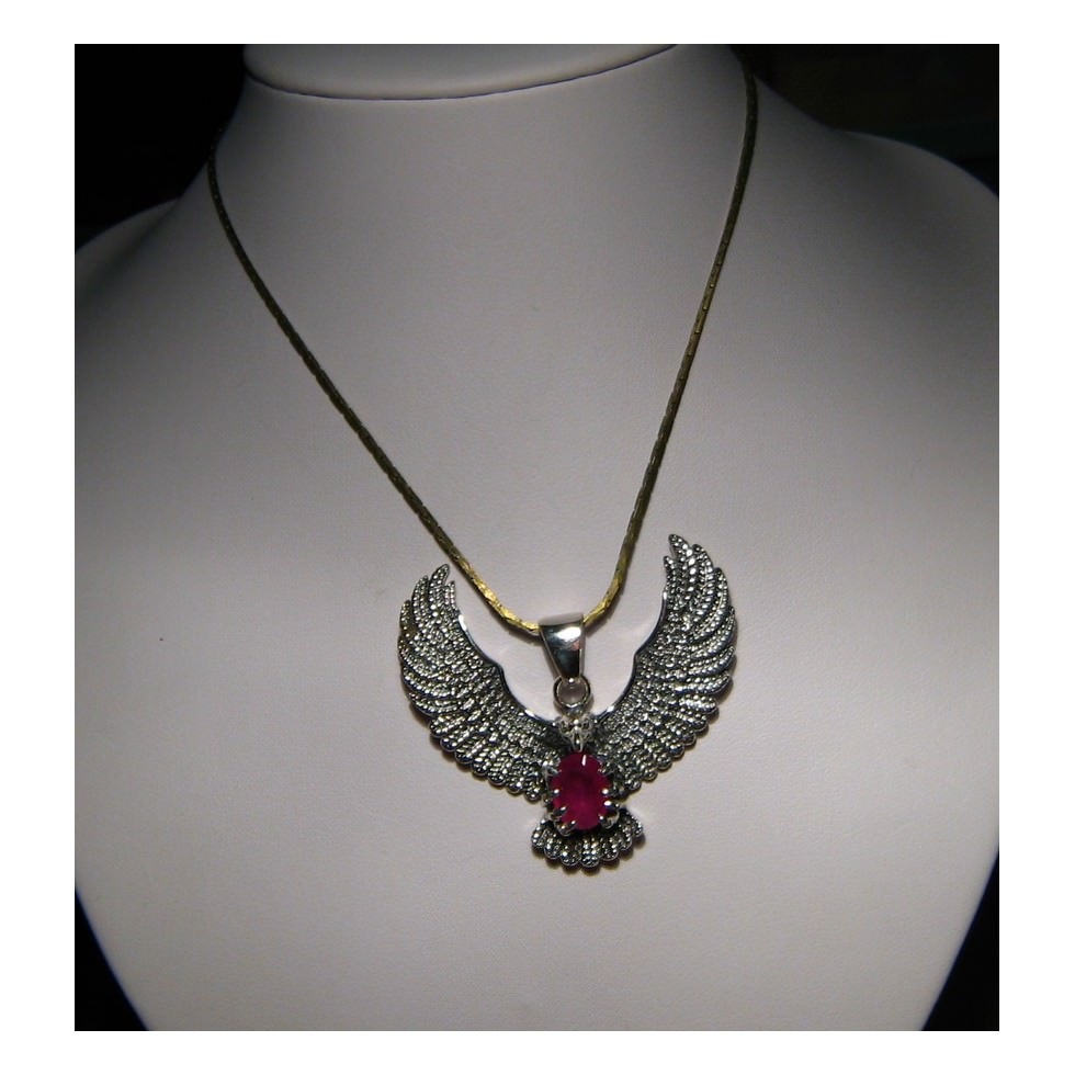 925 silver eagle ruby pendant natural ruby pendant flashopal silver eagle pendant with ruby for men or women aloadofball Gallery