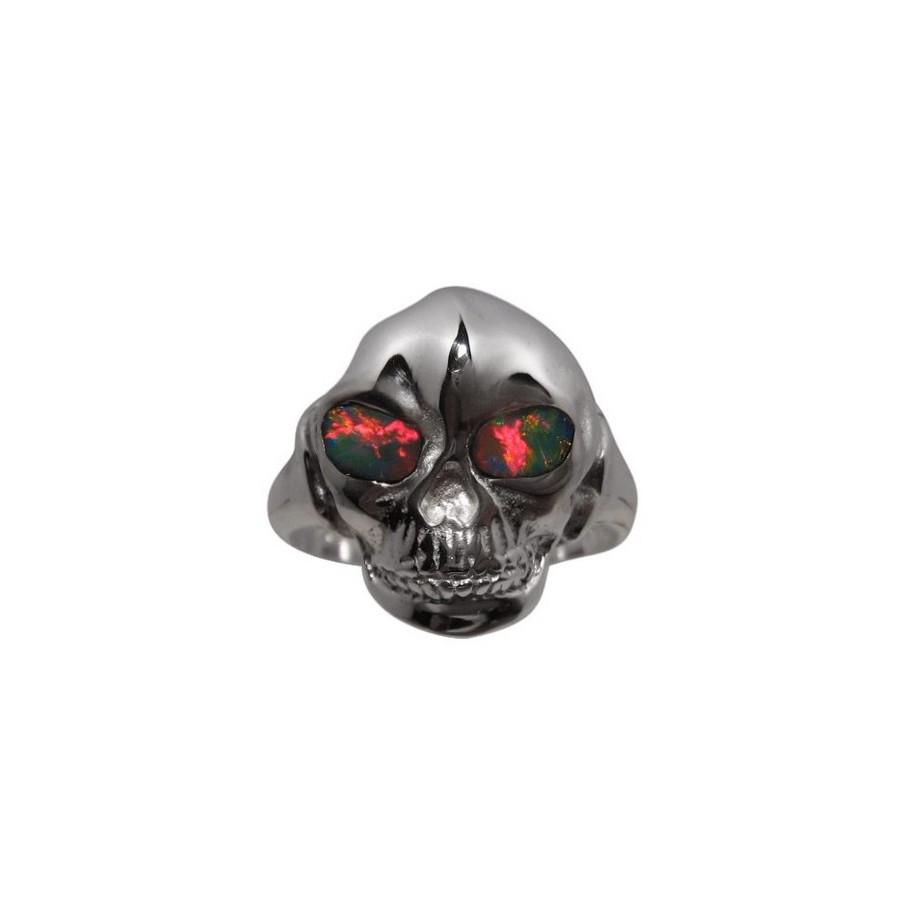 Opal Skull Ring Red Eyes 925 Mens Opal Rings Flashopal