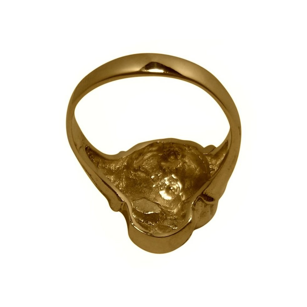 Solid 14k yellow gold skull closed back