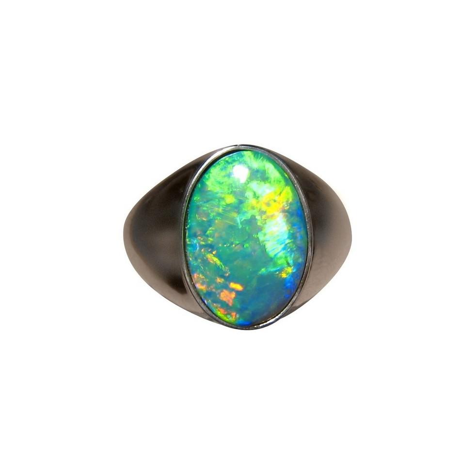 Mens Large Opal Ring 14k Gold Opal Rings Men Flashopal