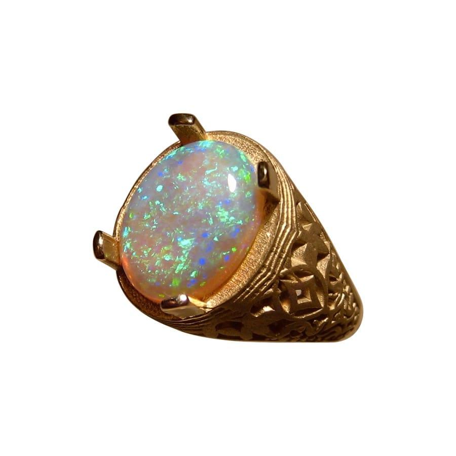 Mens Green Opal Ring 14k Gold Natural Opal Ring Men