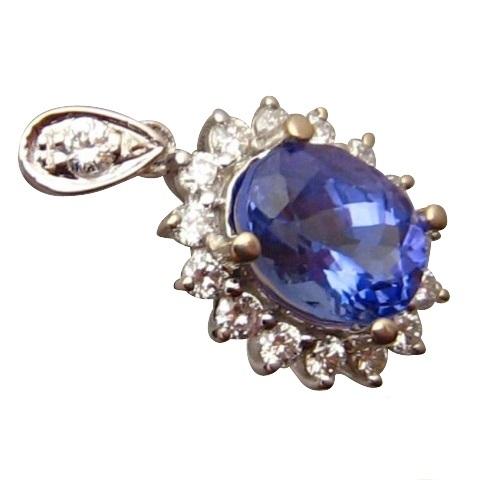 Tanzanite diamond white gold pendant tanzanite pendants flashopal oval tanzanite and diamond pendant 14k white gold aloadofball Images