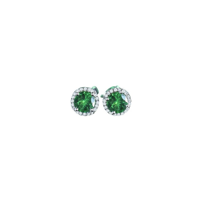 Tsavorite Stud Earrings With Diamonds 18k Gold