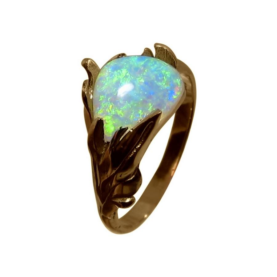 Green Opal Ring 14k Gold Leaf Design Opal Rings Flashopal
