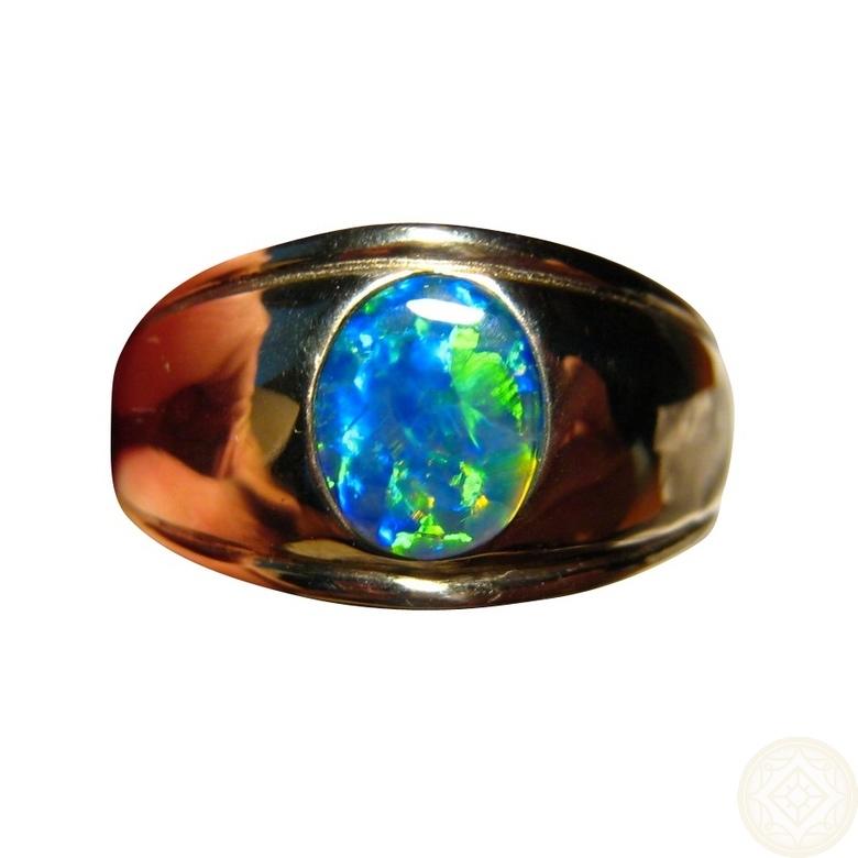 Mens Opal Ring 14k Gold Oval Blue Green Gem Flashopal