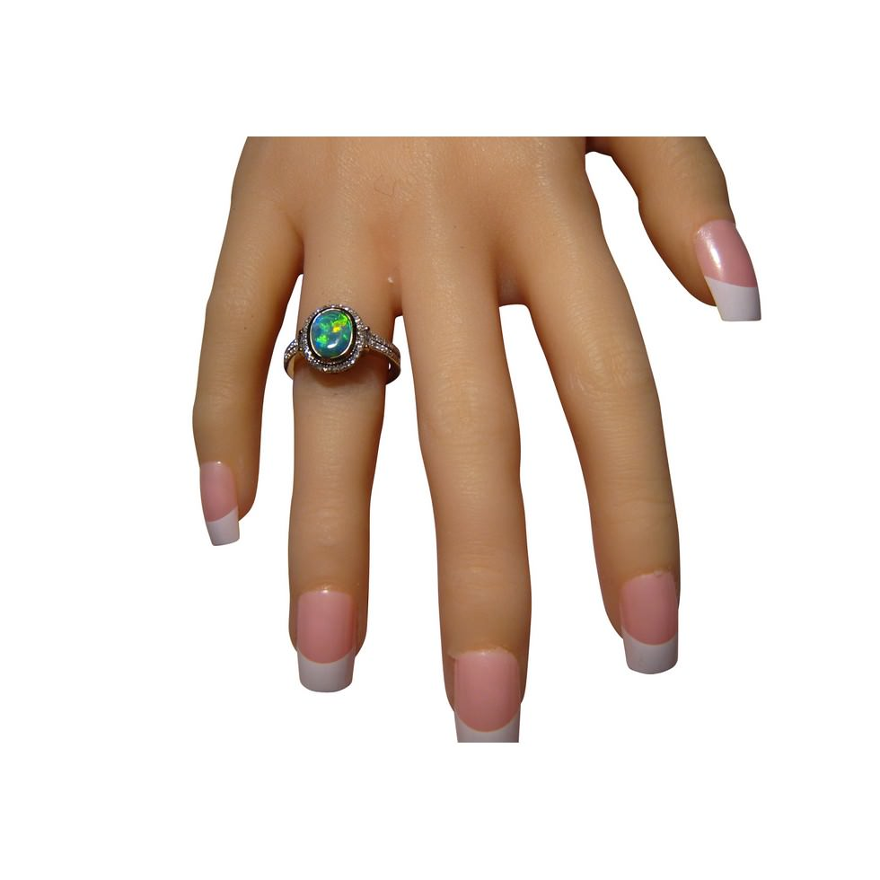 Genuine womens Opal Ring with Diamonds to buy