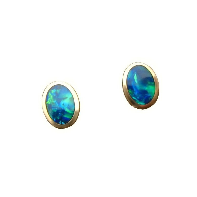 Oval Opal Stud Earrings 14k Gold Green And Blue Gems