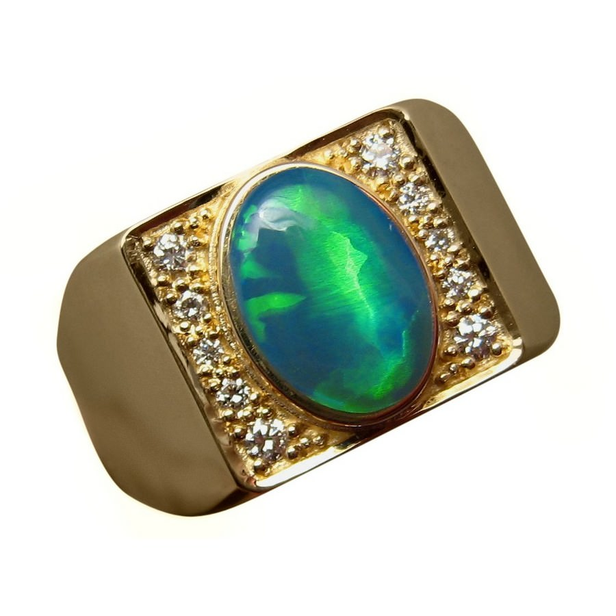 Mens Unique Opal Ring with Diamonds Heavy 14k Gold | FlashOpal