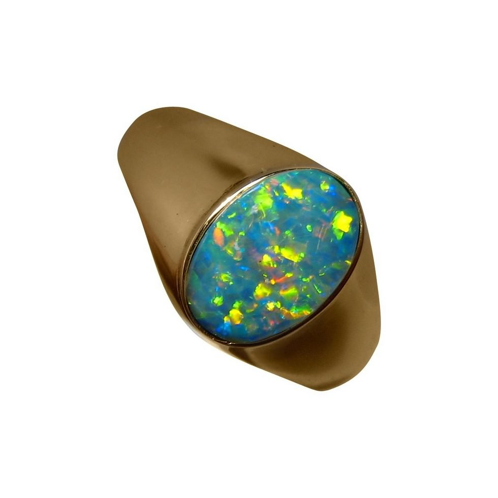 Mens Opal Ring 14k Gold Colorful Oval FlashOpal