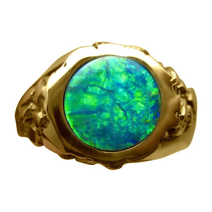 ring men mens gold rings heavy opal flashopal green
