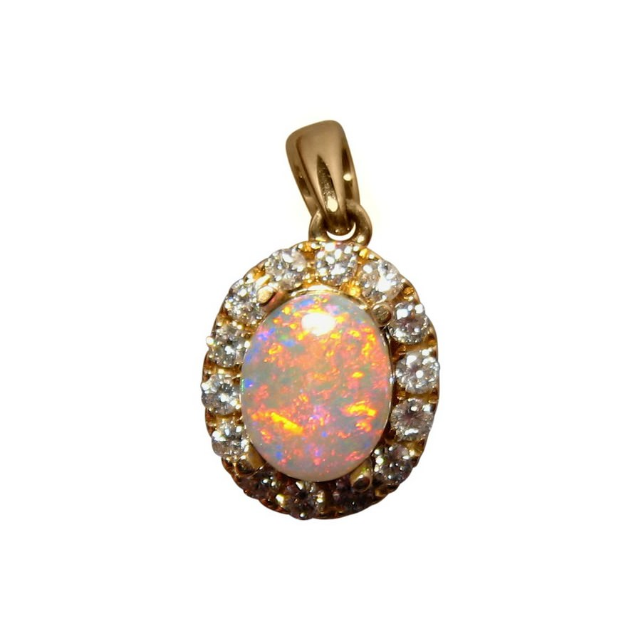 Red crystal opal and diamond halo pendant flashopal red crystal opal diamond pendant 14k gold aloadofball Image collections