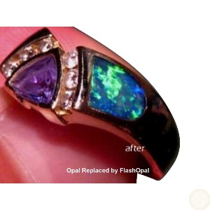 Repaired Inlay Opal Ring