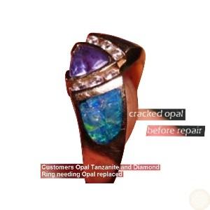 Damaged Inlay Opal Ring