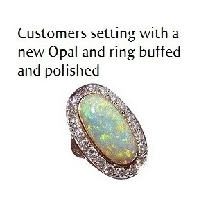 Large Opal Diamond Ring
