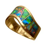 Mens Opal Ring Wide Curve Inlay 14k Gold