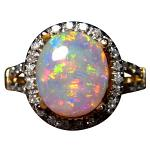 Oval Crystal Opal and Diamond Ring 14k Gold