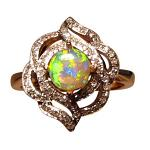 Round Crystal Opal Ring with Diamonds 14k Gold Colorful Gem Fancy Design