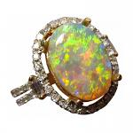 Crystal Opal Ring Diamonds 14k Gold Orange Yellow Stone