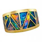 Men's Opal Ring 14k Gold Wide Band Extreme Geometric Inlay